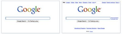 Google neue Startseite Search before after