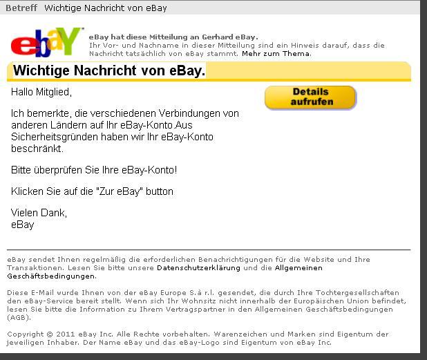 Spam: Wichtige Nachricht von Ebay!